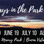 Decorative image with dates and location for Fridays in the park events; May 29, June 19, July 10, and August 7